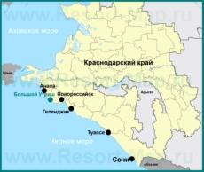 Большой Утриш на карте Краснодарского края