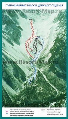 Карта трасс горнолыжного курорта Цей