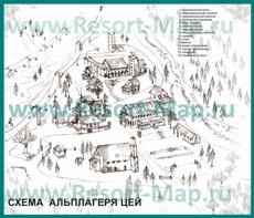 Туристическая карта горнолыжного курорта Цей
