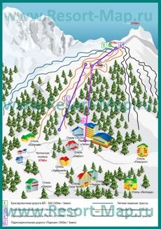 Карта горнолыжного курорта Чегет с трассами и отелями
