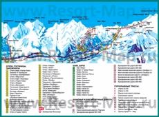 Подробная туристическая карта Чегета с гостиницами