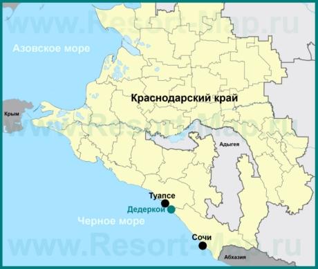 Дедеркой на карте Краснодарского края