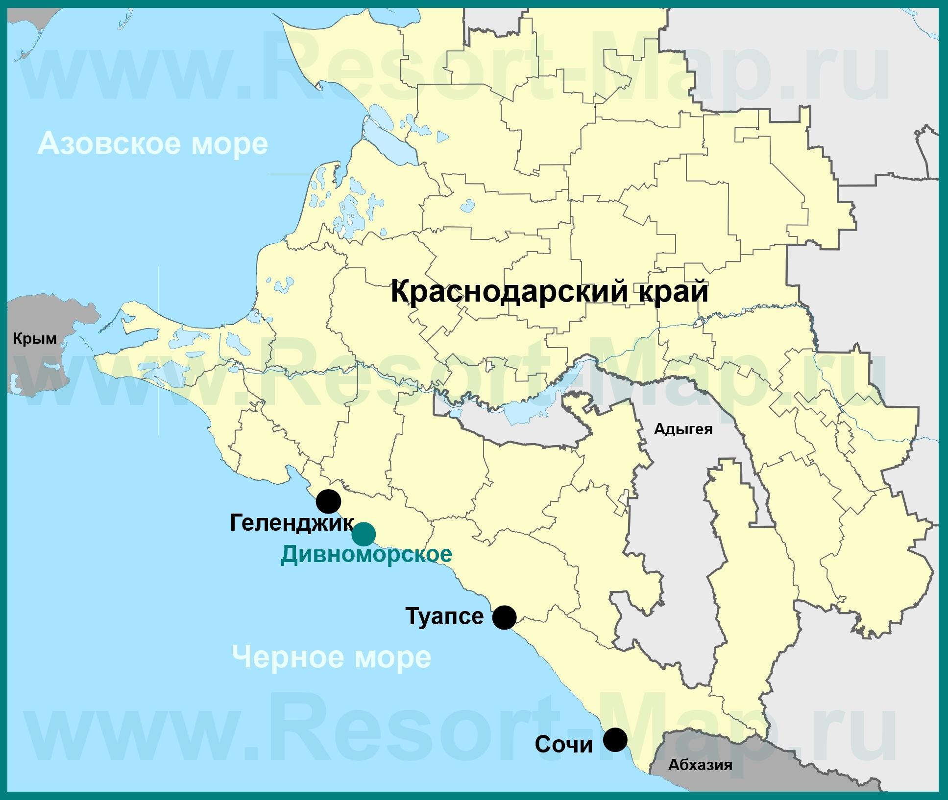 Карта курортного посёлка Дивноморское