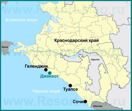 Джанхот на карте Краснодарского края