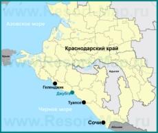 Джубга на карте Краснодарского края