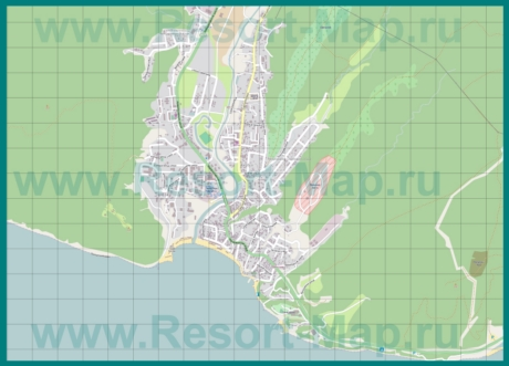 Подробная карта курорта Джубга