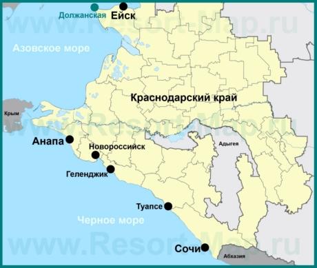 Должанская на карте Краснодарского края