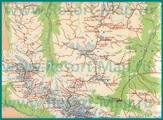Карта окрестностей Домбая