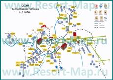 Карта отелей Домбая