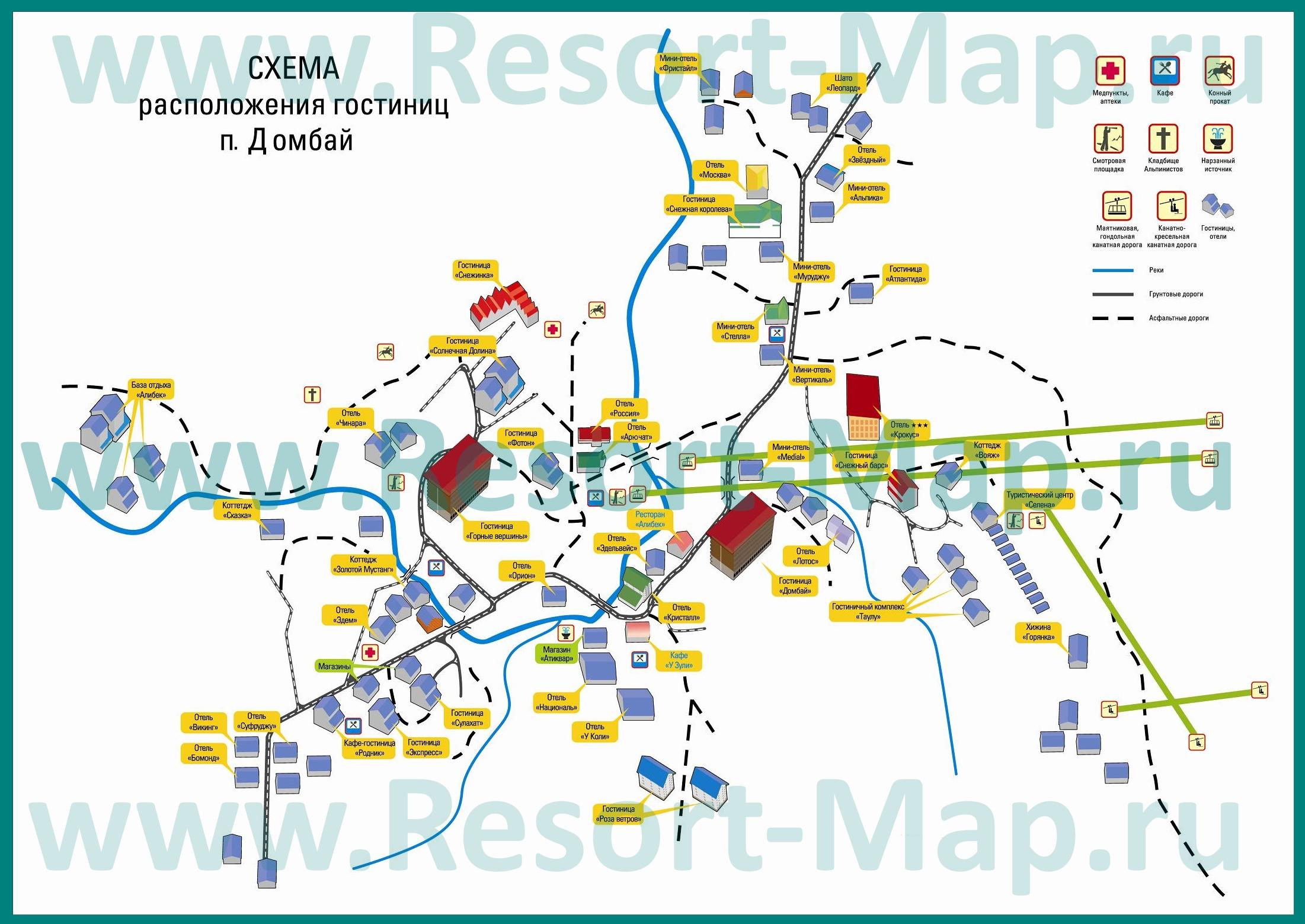Схема расположения отелей в истрии