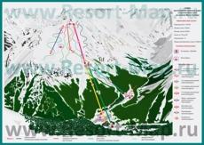 Схема горнолыжных трасс и маршрутов Домбая