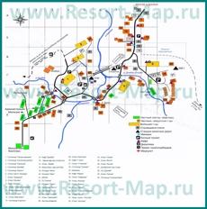 Туристическая карта поселка Домбай с гостиницами