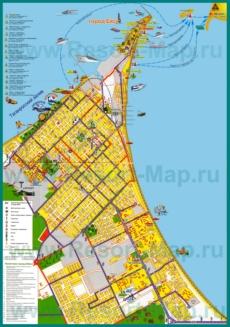 Подробная туристическая карта Ейска с отелями и базами отдыха