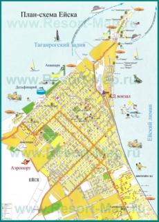 Туристическая карта побережья Ейска с пляжами
