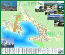 Подробная туристическая карта города Геленджик с отелями, пансионатами и санаториями