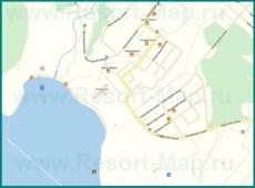 Подробная карта поселка Голубая Бухта с улицами и отелями