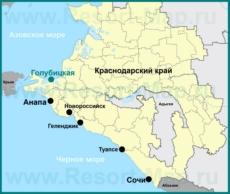 Голубицкая на карте Краснодарского края