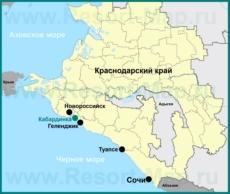 Кабардинка на карте Краснодарского края