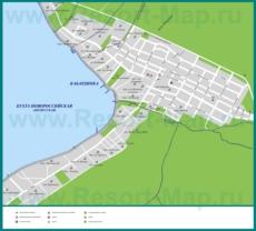 Карта побережья Кабардинки с санаториями