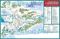 Подробная карта курорта Красная Поляна