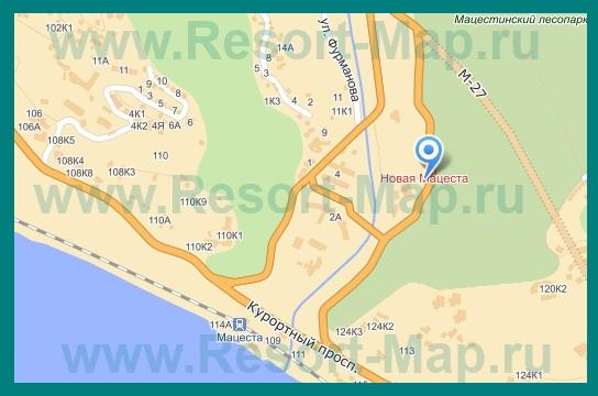 Подробная карта Мацесты с улицами и номерами домов