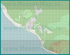 Подробная карта курорта Магри с улицами и домами