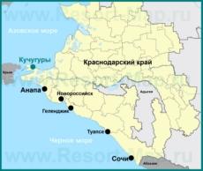 Кучугуры на карте Краснодарского края