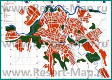 Подробная карта города Кувандык с улицами