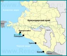 Мысхако на карте Краснодарского края