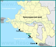 Небуг на карте Краснодарского края