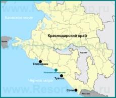 Новомихайловский на карте Краснодарского края
