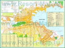 Подробная туристическая карта города Новороссийск с гостиницами