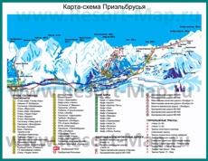 Туристическая карта горнолыжного курорта Приэльбрусье с трассами, отелями и гостиницами