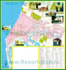 Подробная туристическая карта города Приморско-Ахтарск с гостиницами