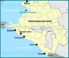 Приморско-Ахтарск на карте Краснодарского края