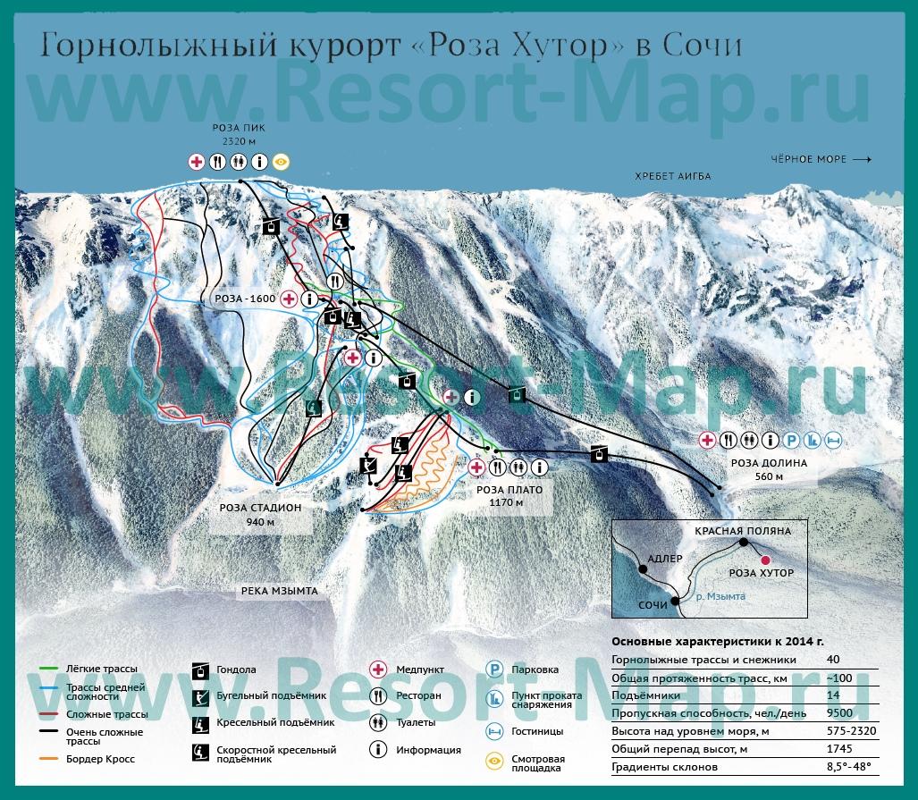 Карта склонов горнолыжного курорта