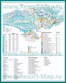 Карта склонов горнолыжного курорта Шерегеш с отелями