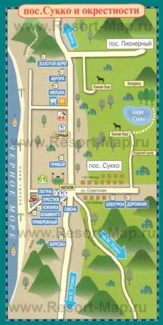 Туристическая карта Сукко с отелями