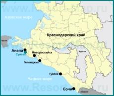 Супсех на карте Краснодарского края