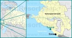 Туапсе на карте России и Краснодарского края