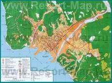 Туристическая карта побережья Туапсе с гостиницами, санаториями, ресторанами и кафе