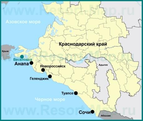 Веселовка на карте Краснодарского края