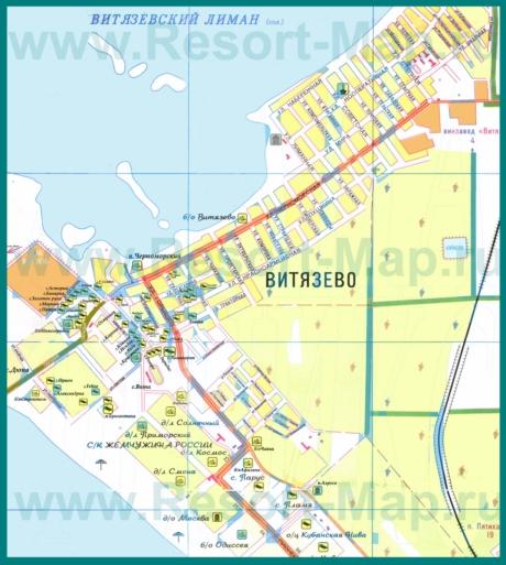 Подробная туристическая карта Витязево с гостевыми домами и пляжами
