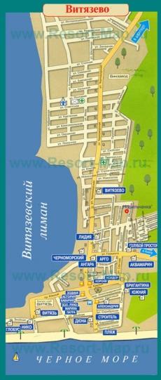 Туристическая карта Витязево с отелями