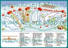 Подробная туристическая карта склонов горнолыжного курорта Яхрома с трассами