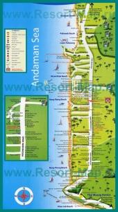 Подробная карта Као Лака с отелями