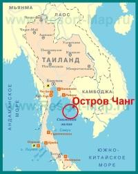 Остров Ко Чанг на карте Тайланда