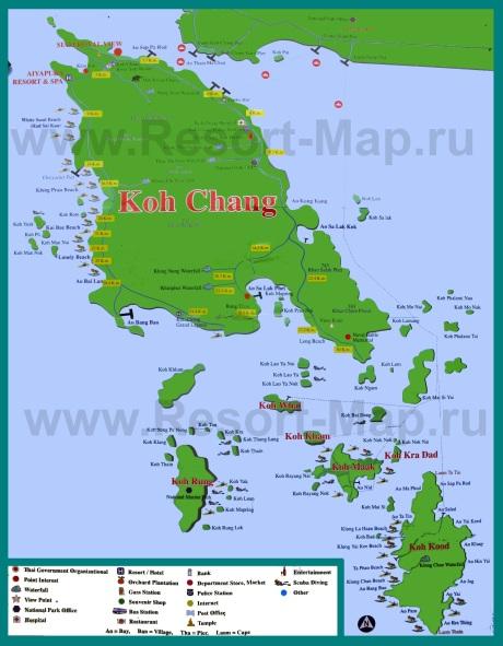 Подробная карта острова Ко Чанг с пляжами