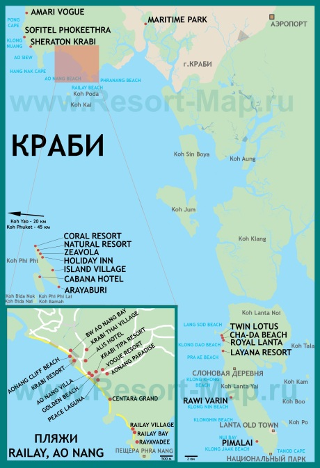Карта Краби с пляжами и отелями