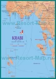 Подробная карта Краби с отелями